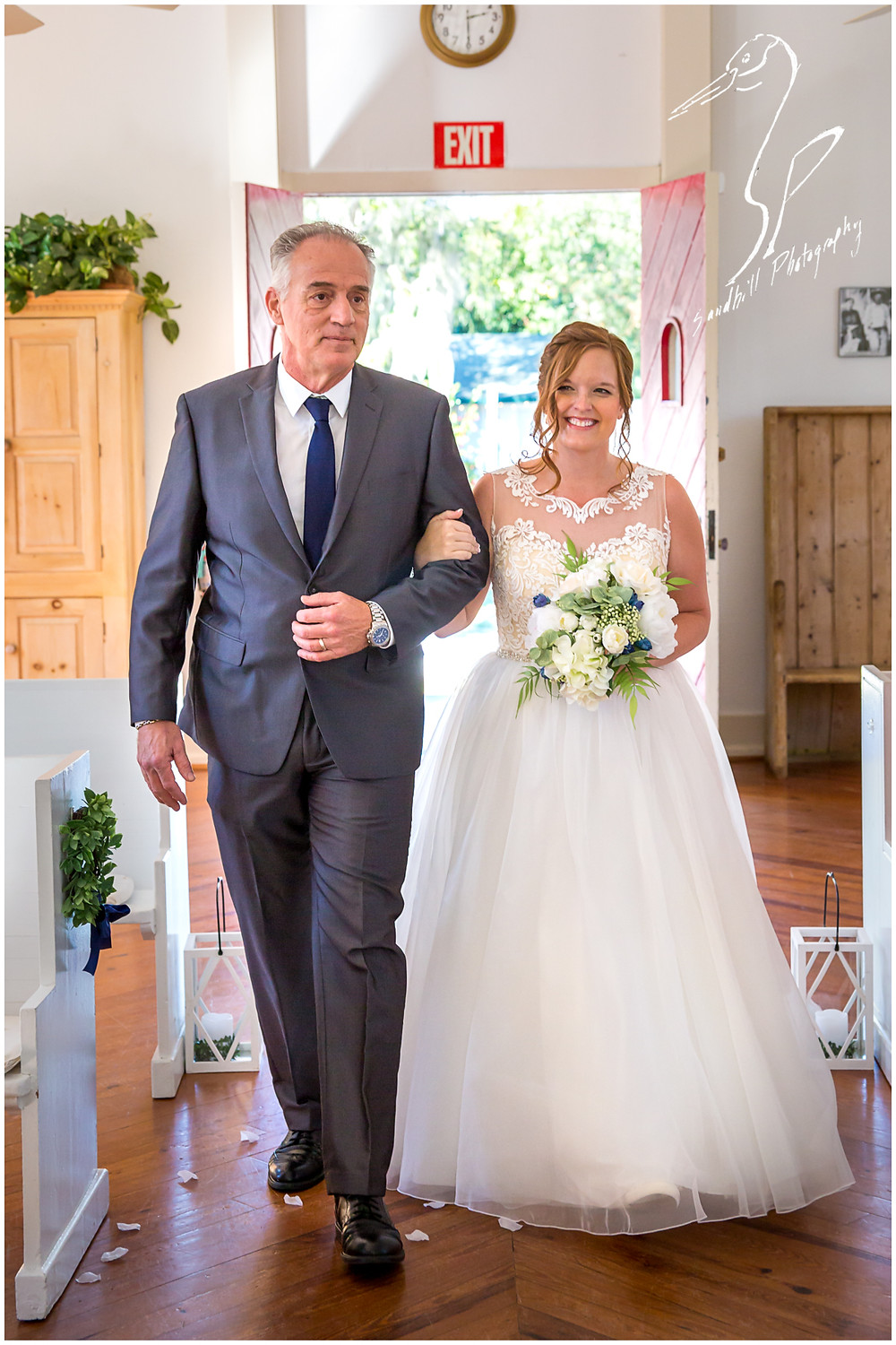 Sarasota Wedding Photography Crocker Memorial Church Portrait of the bride being walked down the isle by her father by Sandhill Photography