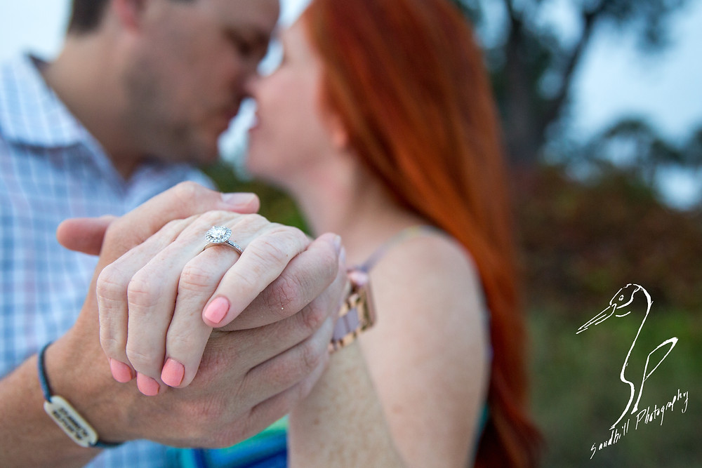 Anna Maria Island Engagement Session Holmes Beach Sunset Photography Engagement ring hands couple almost kiss
