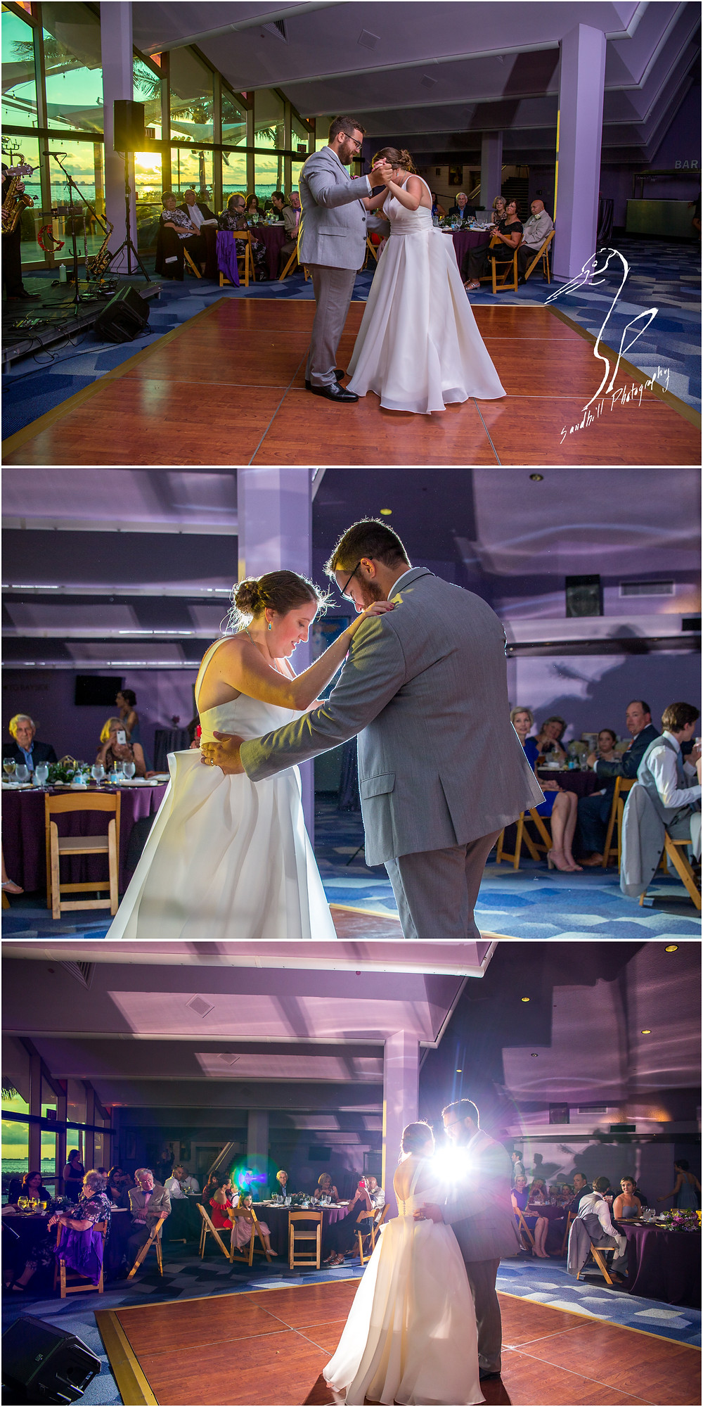 Van Wezel Wedding Photography, Reception, The bride and groom share their first dance as the sun sets over Sarasota Bay