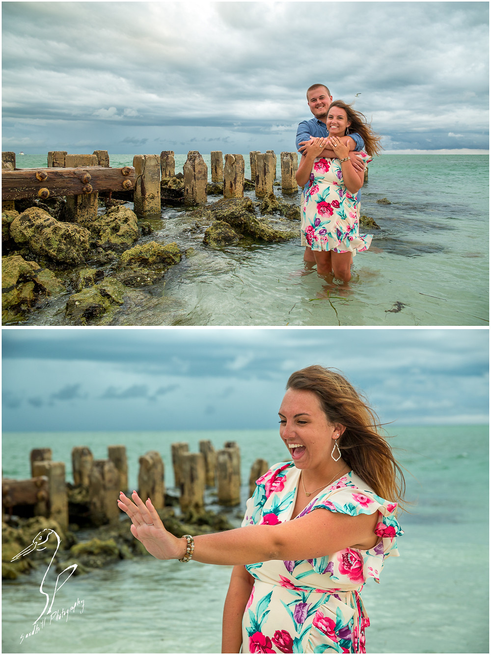 Bradenton Beach Engagement Photography, engaged couple standing in the water embracing in front of an old jetty