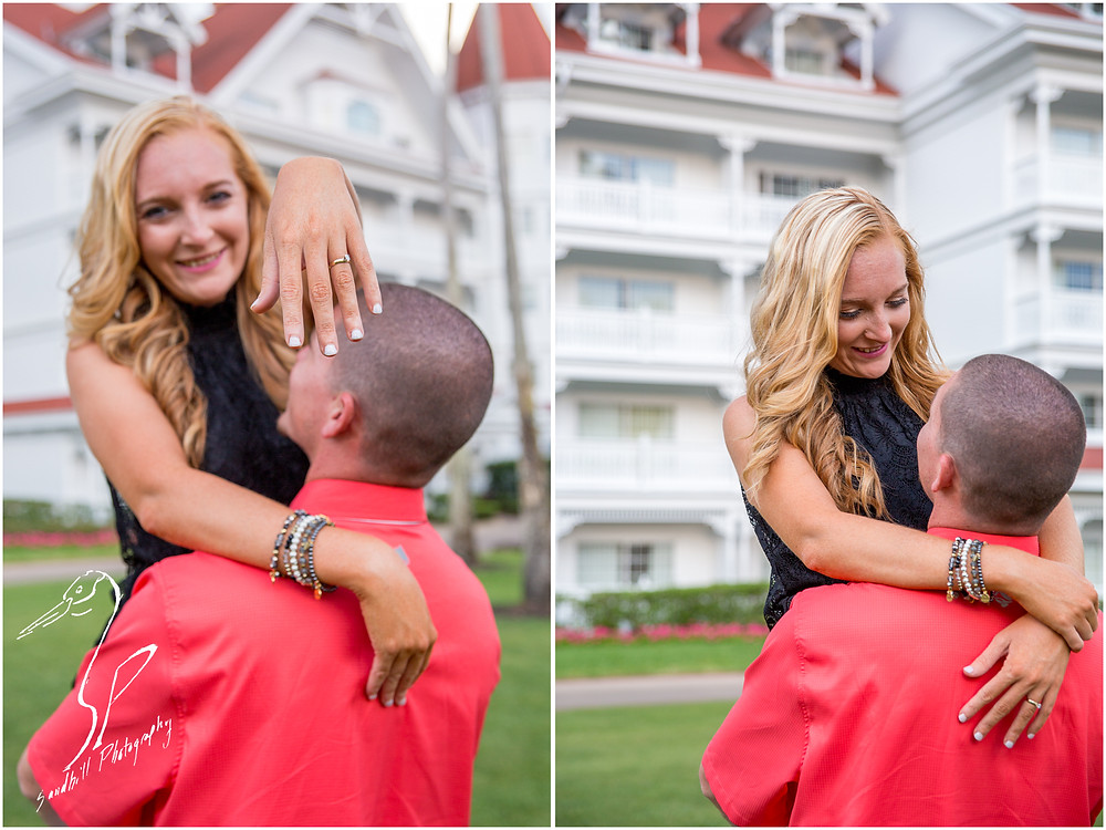Disney's Grand Floridian Engagement Session, a man holds his fiance as she shows her ring to the camera