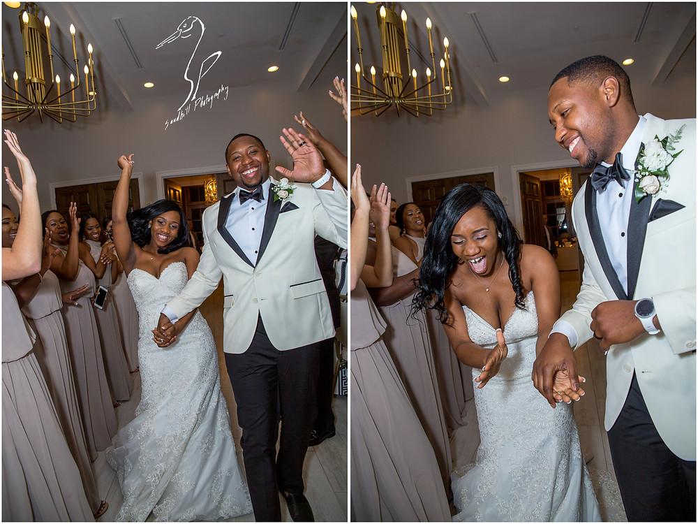 Bradenton Wedding Photographer, The bride and groom enter the reception at the Mirabay Club