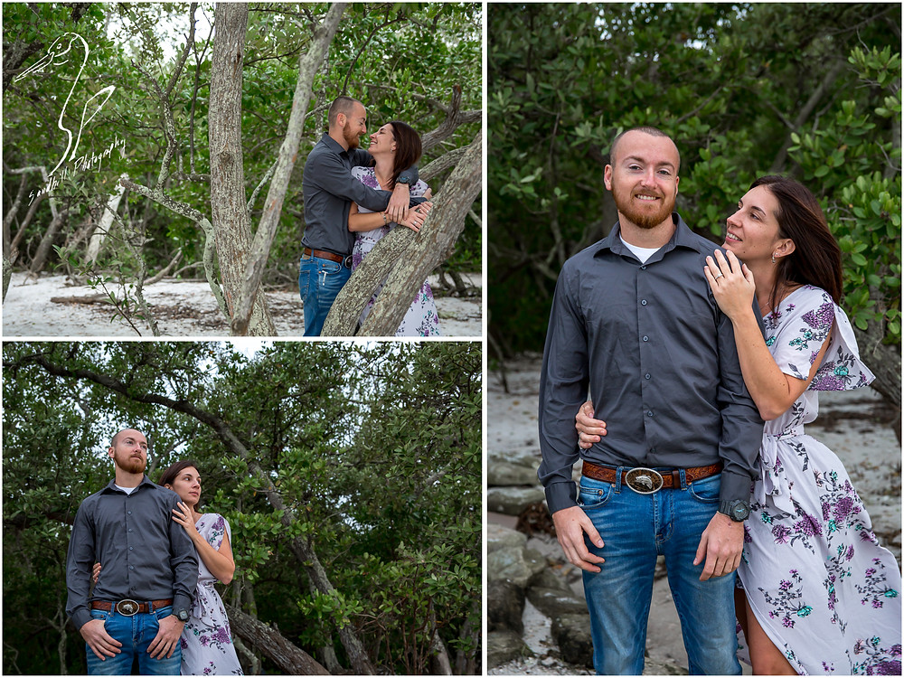 Bradenton Engagement Photographer, engaged couple embrace in the woods at De Soto National Memorial