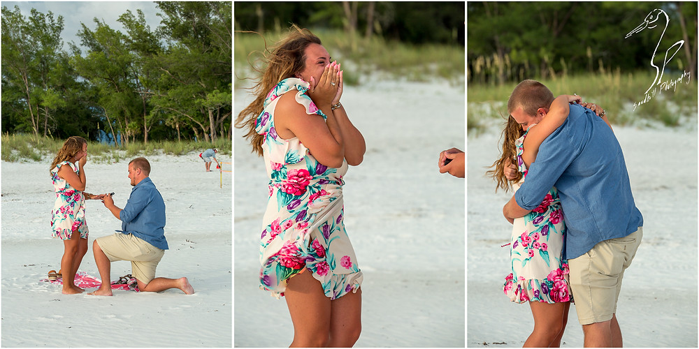 Bradenton Beach Engagement Photography with a man on one knew proposing to his fiance