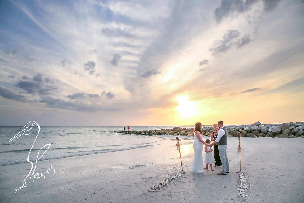 Treasure Island Wedding, ceremony on the beach at sunset