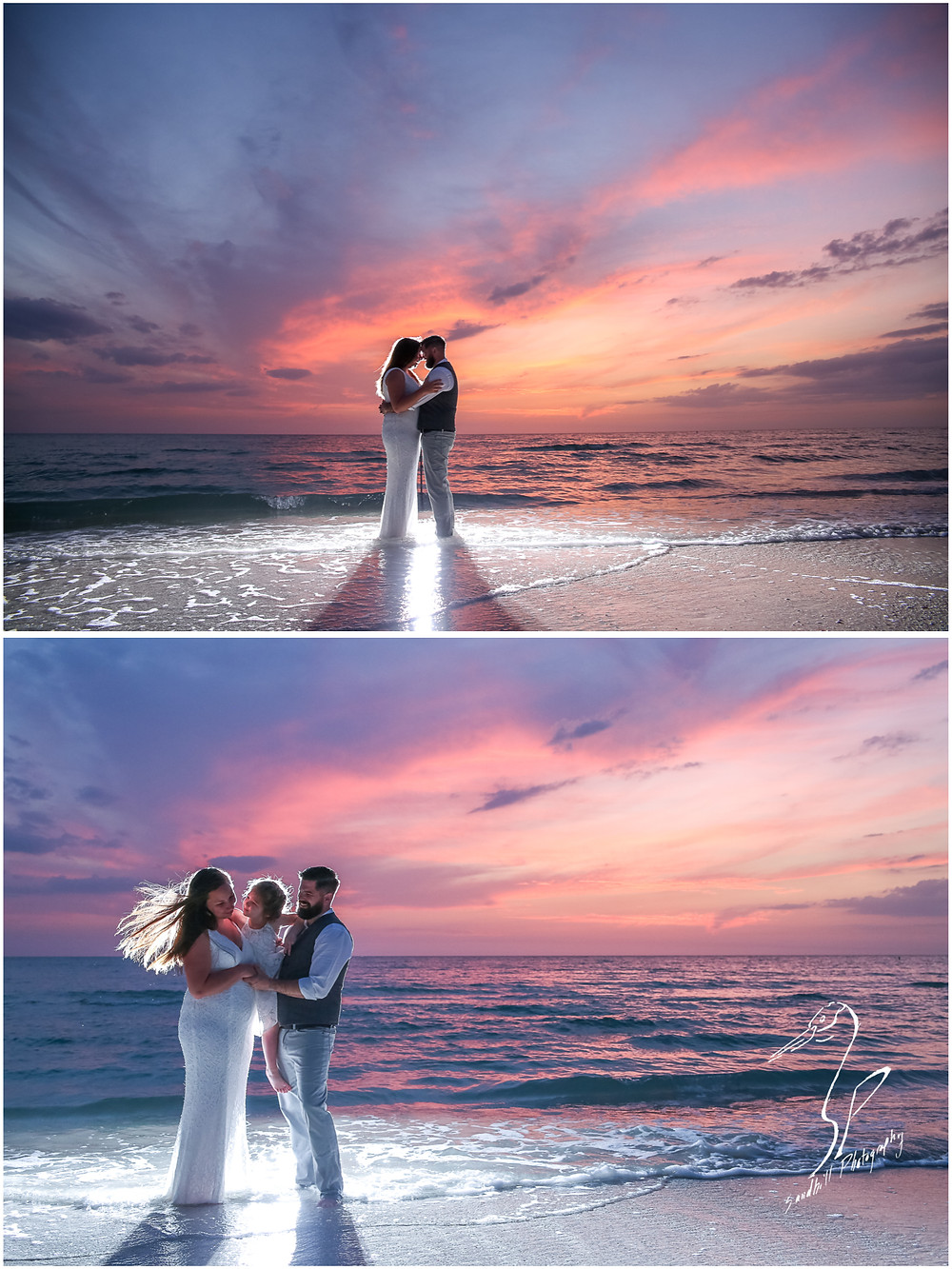 Treasure Island Wedding, Backlit Photography, wedding portraits, bride, groom, and flower girl in the water at sunset