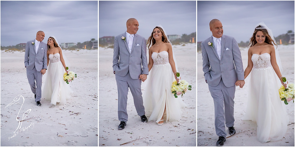 Sarasota Beach Wedding Photography, wedding portraits on Lido Key by Sandhill Photography