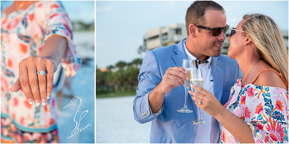 Longboat Key Surprise Proposal collage with engagement ring detail and bride and groom with champagne glasses