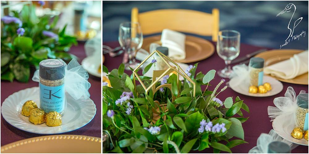 Van Wezel Wedding Photography, Reception details of wedding favors and center pieces