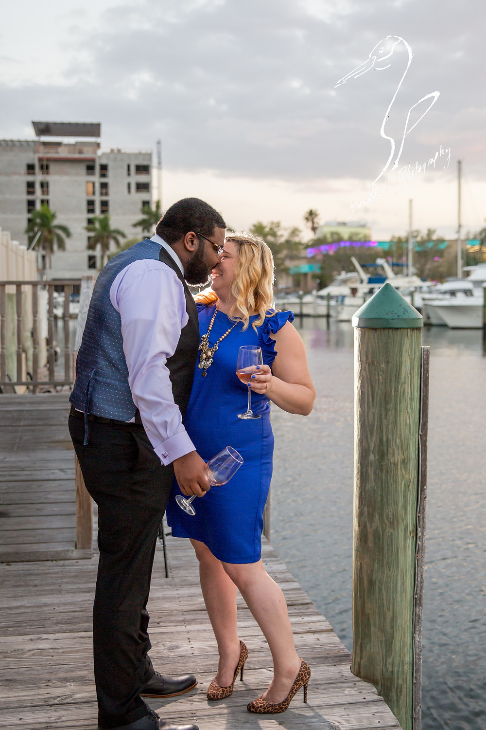 Pier 22 Downtown Bradenton Engagement Photography formal wear Wine Water Sunset Dock Boats