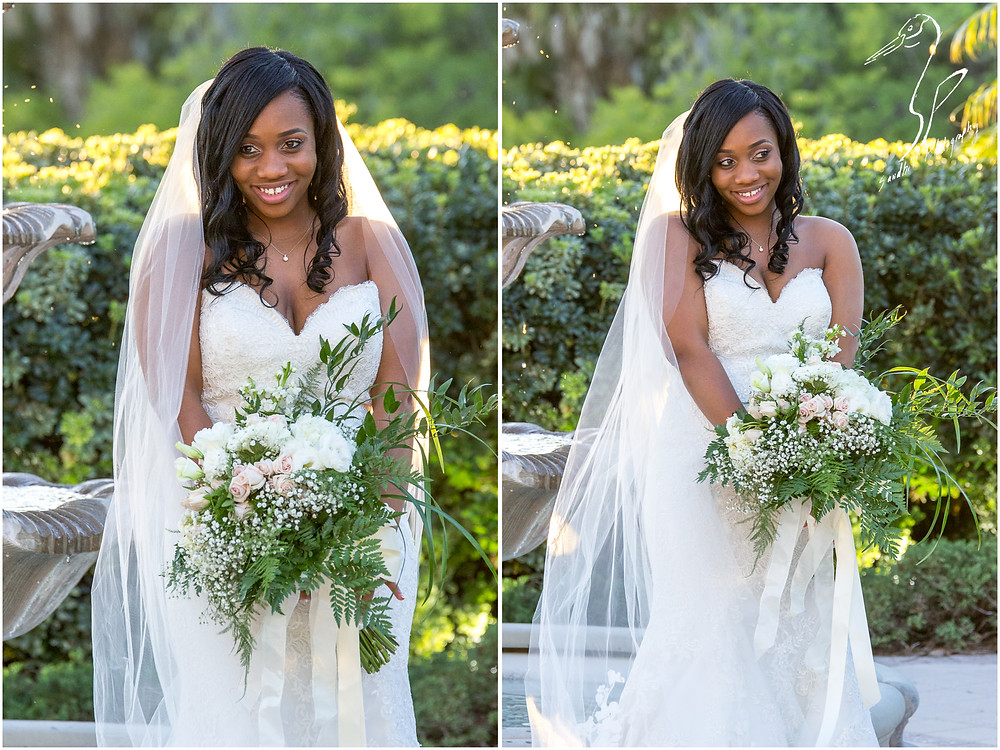 Bradenton Wedding Photographer, Portraits of the bride with her bouquet in a garden at the Mirabay Club