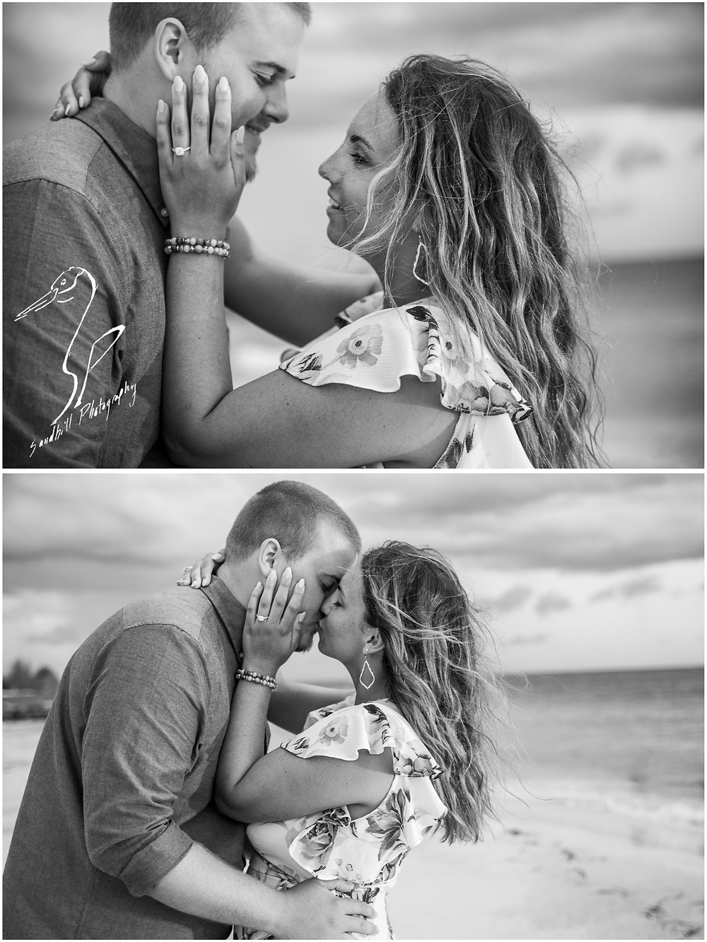 Bradenton Beach Engagement Photography, black and white images of an engaged couple embracing with her hand on his cheek