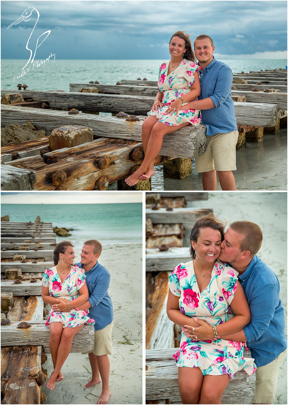 Bradenton Beach Engagement Photography, newly engaged couple sitting on a jetty and smiling