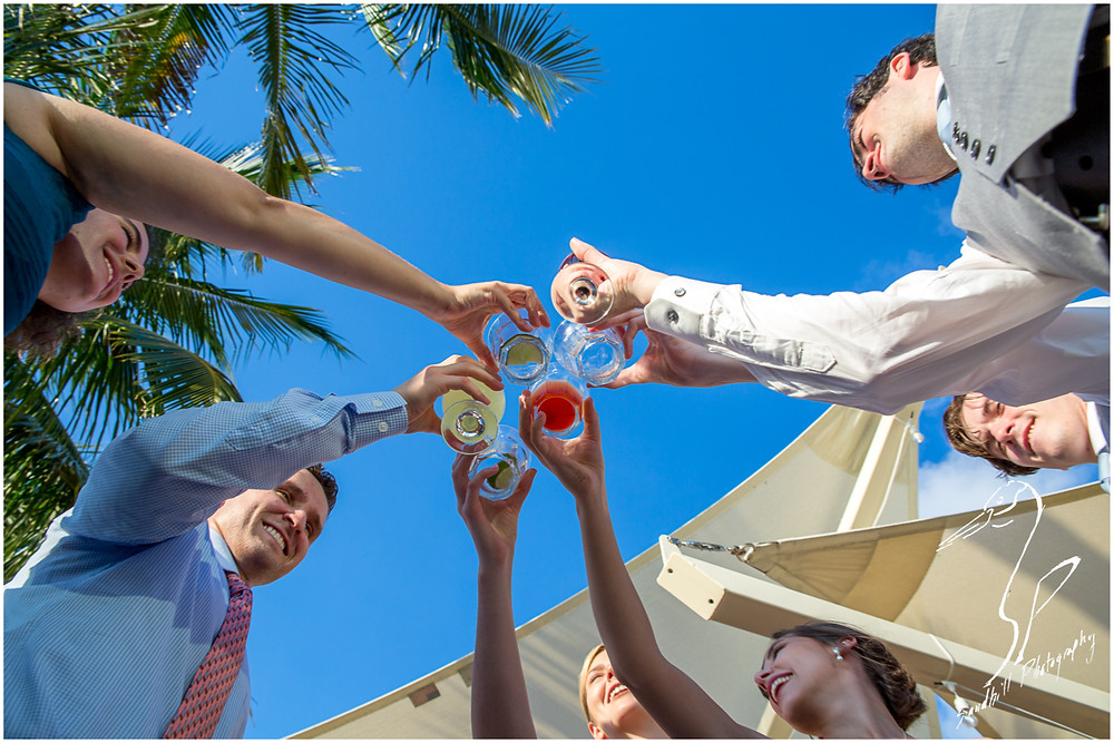 Van Wezel Wedding Photography, Guests toast to the bride and groom under a clear blue sky