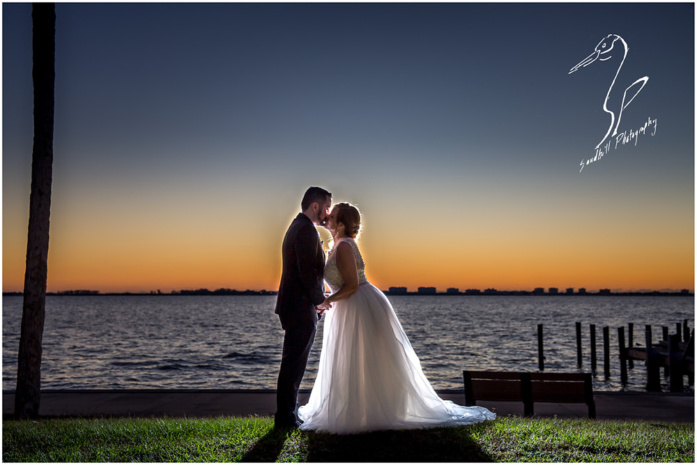 Sarasota Wedding Photography sunset portraits of the bride and groom on Sarasota Bay by Sandhill Photography