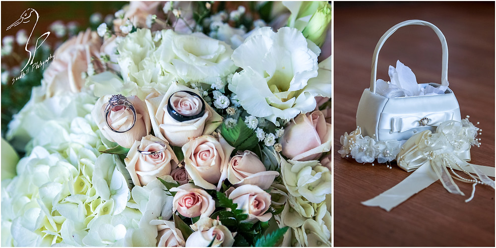 Bradenton Wedding Photographer, detail pictures of wedding rings on the brides bouquet and the flower girl basket