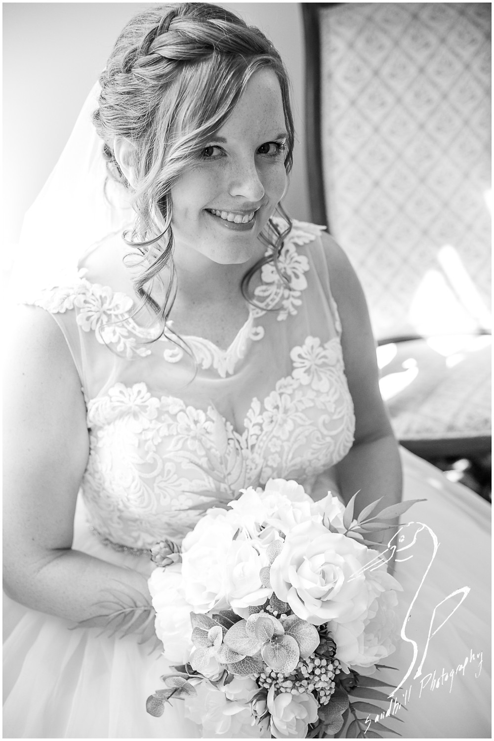 Sarasota Wedding Photography Crocker Memorial Church Black and white bridal portrait by Sandhill Photography