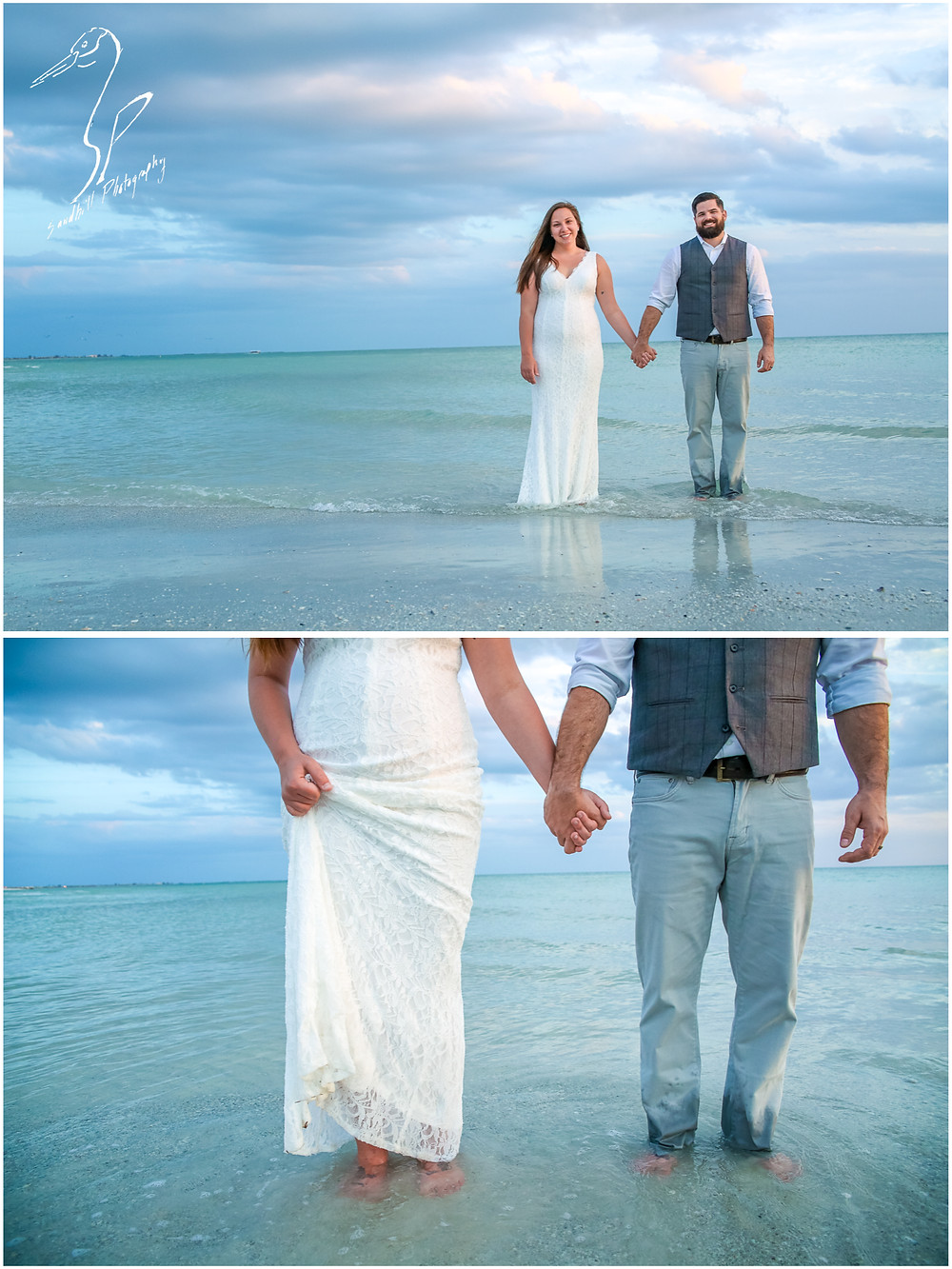 Treasure Island Wedding, Bride and groom holding hands in the water