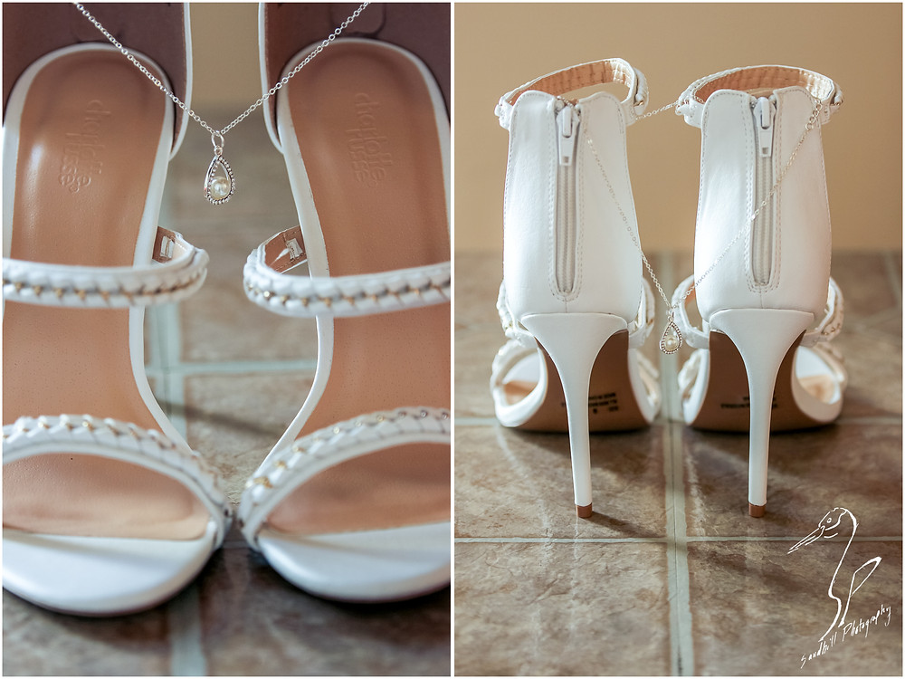 Bradenton Wedding Photographer, detail picture of bride's wedding shoes and necklace United Methodist Church of Seffner