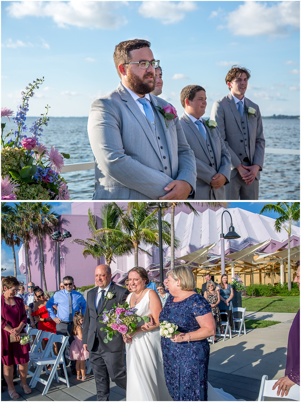 Van Wezel Wedding Photography, Bride and groom look at each other as they walk down the isle overlooking Sarasota Bay