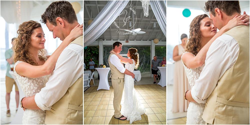 Anna Maria Island Wedding Photographer bride and groom first dance at The Sandbar Restaurant