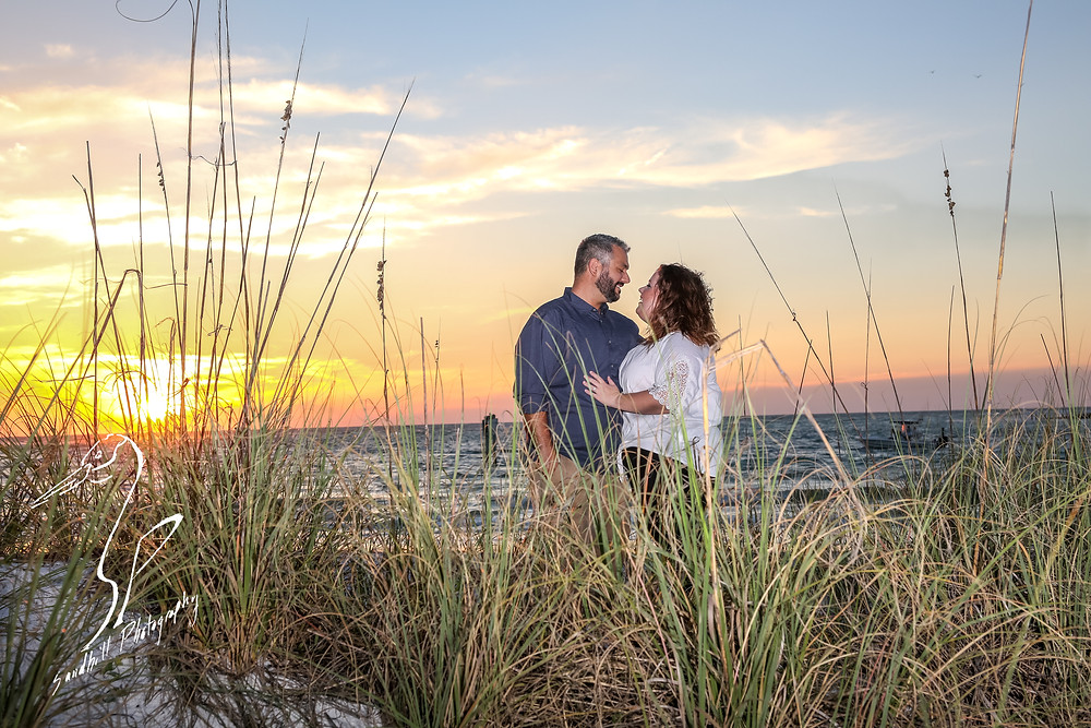 Beer Can Island Sunset Engagement Photography beach ocean sea grass flash sand romantic clouds