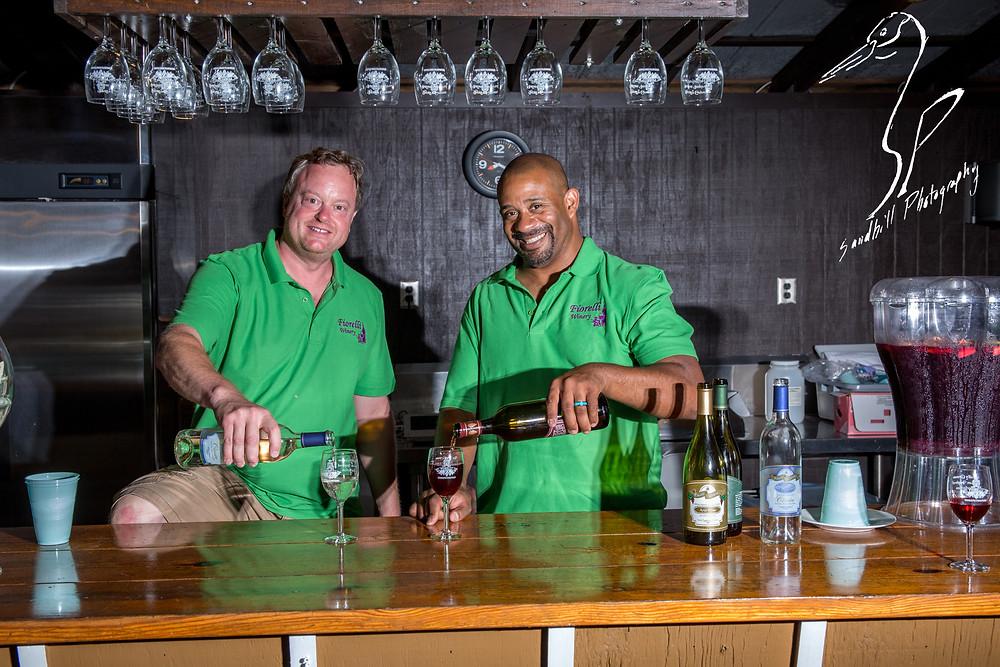 Fiorelli Winery & Vineyard wine 'n dine Bradenton bartenders pouring red wine white wine hanging glasses