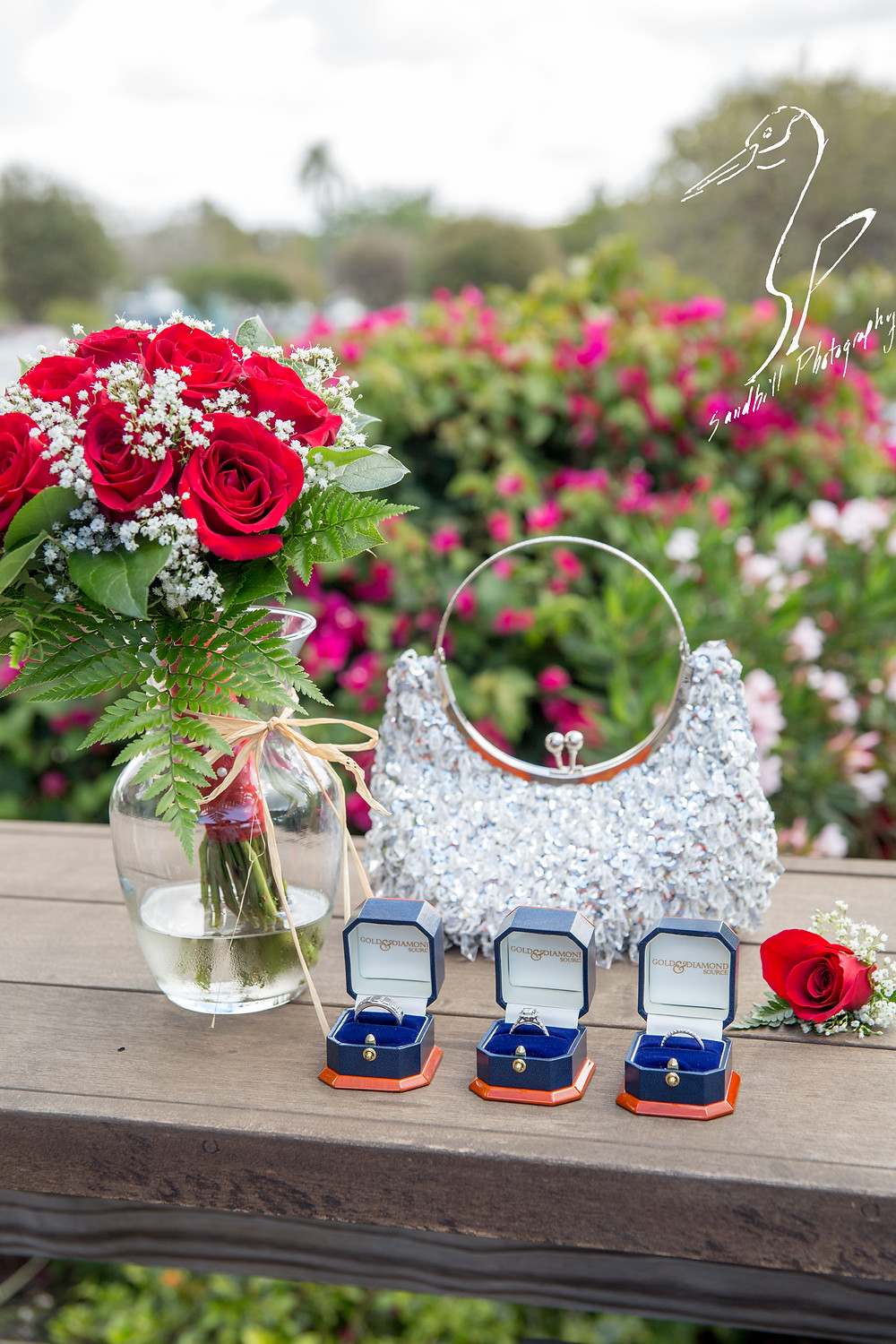 Anna Maria Oyster Bar Wedding Photography Boquet Roses Babies Breath Rings detail picture purse