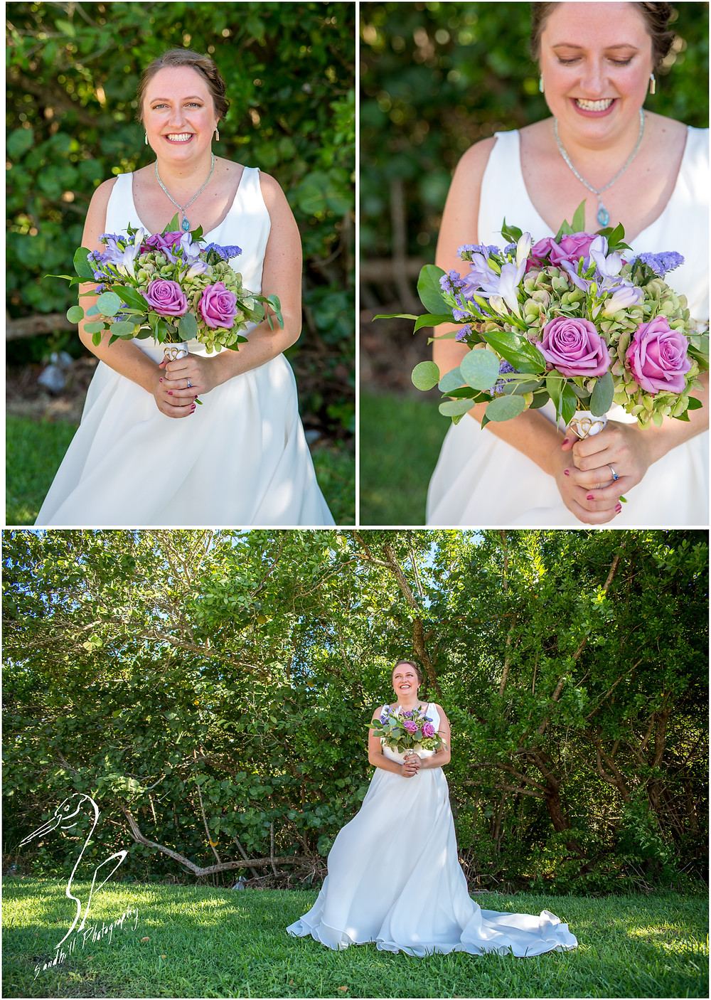 Van Wezel Wedding Photography, Bridal Portraits of bride holding boquet and standing in the trees in Sarasota