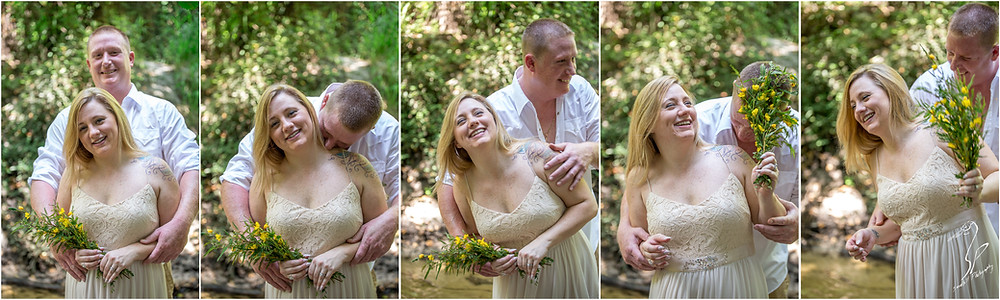 Rye Preserve Engagement Photography in Bradenton, couple being silly in the woods, engagement bloopers