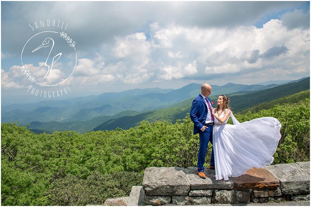 Destination Wedding Photographer, mountain top wedding, wind swept wedding gown, image by Sandhill Photography, Bradenton FL