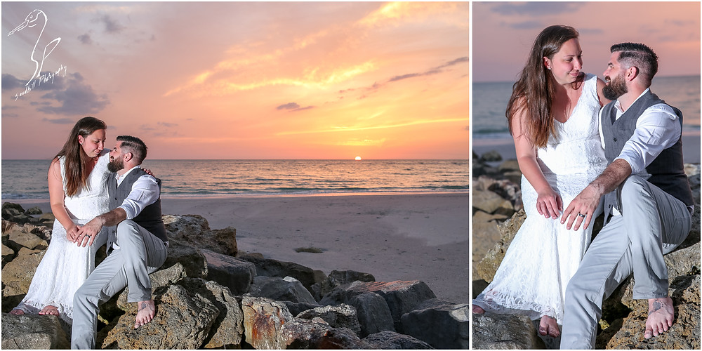 Treasure Island Wedding, portrait photography, bride and groom sitting on the rocks at sunset