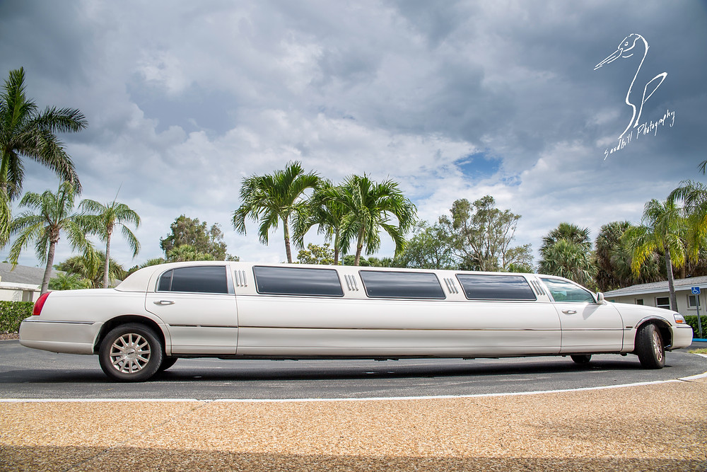 Rainy Day Wedding Photography Sarasota, Limo under the palm trees and clouds