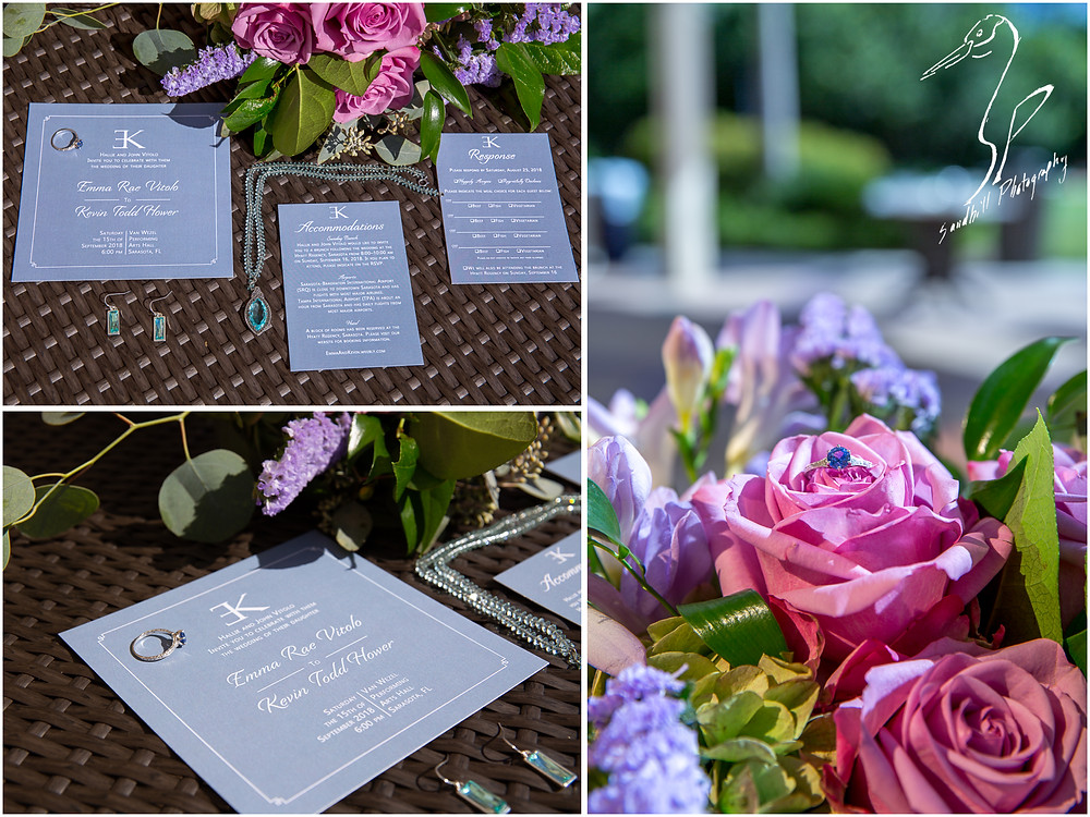 Van Wezel Wedding Photography, detail of invitations, bridal jewelry and bridal bouquet