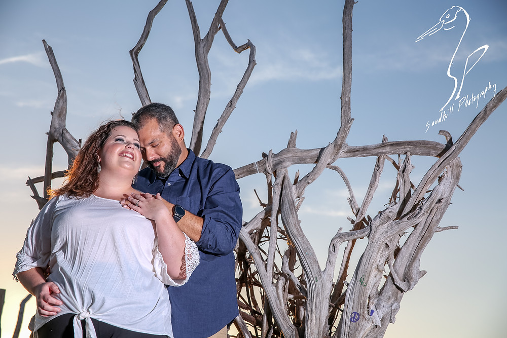 Beer Can Island Sunset Engagement Photography beach sunset driftwood touching foreheads sky dead tree blue and white