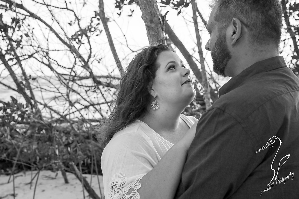Beer Can Island Sunset Engagement Photography Beach trees sand couple gazing black and white