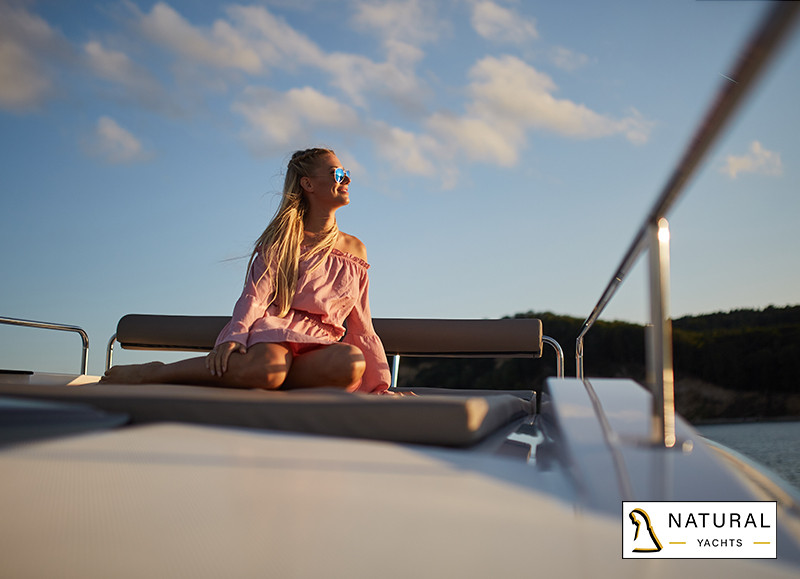 Northman 1200 Motor Yacht spacious sundeck lounge on rooftop