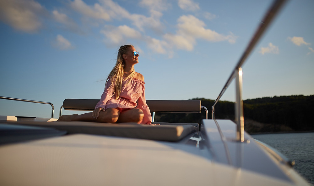 Sundeck lounge on rooftop on the Northman 1200 Motor Yacht