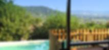 Gîte de la garrigue, vue sur la terrasse, piscine