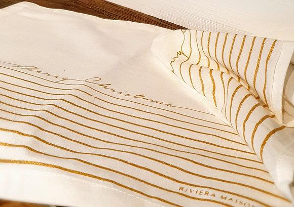 Merry Christmas Gold Stripe Napkin