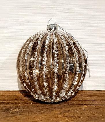 Decostar Weihnachtskugel silber mit Perlen