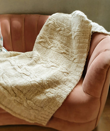 Classic Kable Knit Throw 170 x 130 cream
