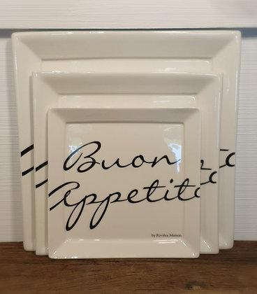 Rivièra Maison Buon Appetito Square Plate 26x26 cm