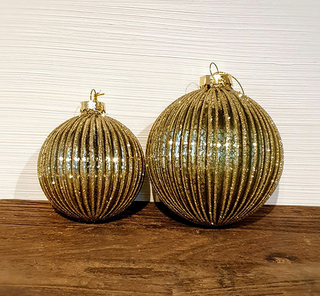 Decostar Weihnachtskugel mint-gold/Streifen