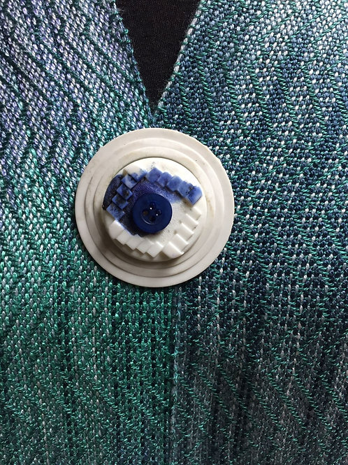 White Blue Button Magnetic Shawl Pin