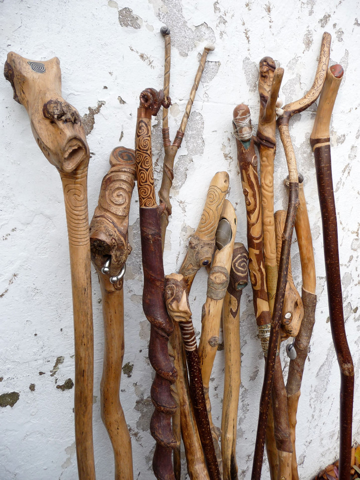 Specialised walking sticks, staffs and ambulation aids, often personalised to the individual. Commissions undertaken, contact us for details.
