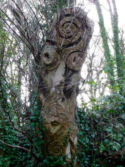 Carved Eromacys, guardian of the quarry at Sharpham outdoors.