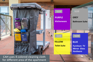 CAH uses 4-colored cleaning cloth for di