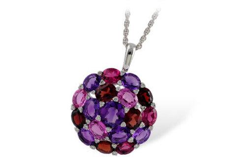 7.33ctw 7.17ct Semi Precious Stones 14k White Gold Pendant Necklace