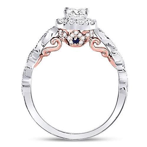 14kt White Rose Gold 3/4cttw Princess Cut Diamond Bridal Wedding Engageme